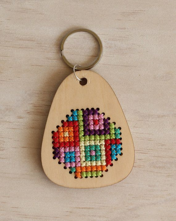 Cross Stitch Keyring Kit Wooden embroidery by ClementineAndThread