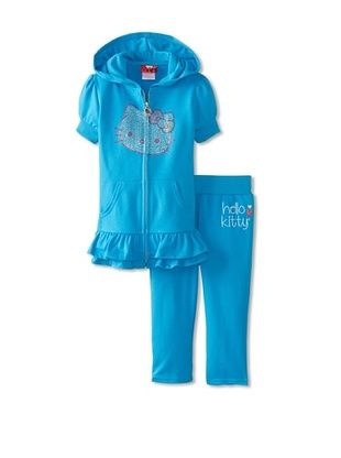 61% OFF Hello Kitty Girl's Short Sleeve Hoodie & Sweatpant Set (Diva Blue)