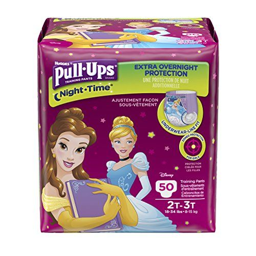 PullUps NightTime Training Pants for Girls 2T3T 50 Count Help make your potty training experience easier* with Pull-Ups Night*Time training pants, our most absorbent pants for extra overnight protection. With great coverage, soft and stretchy sides, and zoned protection, Pull-Ups training pants give your child a comfortable fit and all-around performance. And she will love the fun graphics featuring Disney Princesses, Cinderella and Belle. Pull-Ups pants have an underwear-like desig..