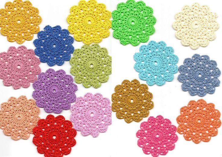 16 crochet colourful mini doilies spring collection set motif appliqué Mandala
