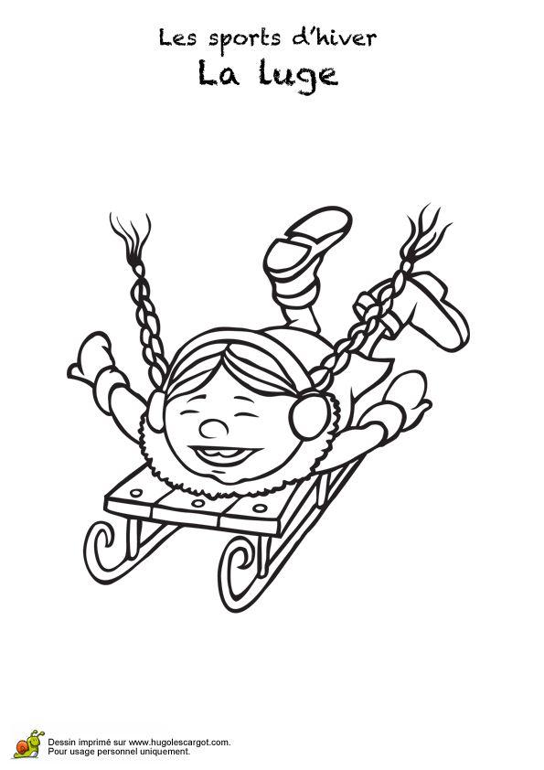 Coloriage d'une petite fille coiffée de deux nattes s'amusant sur une luge.