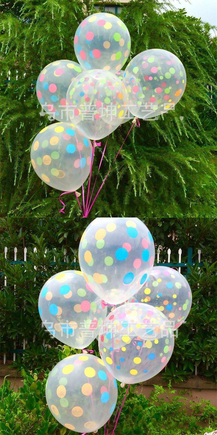 [Visit to Buy] 10pcs 12 inch Clear Transparent Latex Polka Dots Balloons Wedding Birthday Balloons Decoration Globos Party Anniversary Ballon #Advertisement