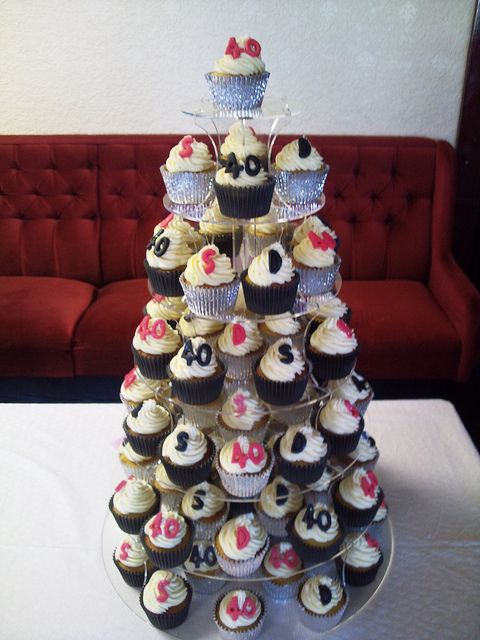 40th Birthday Cupcake Tower | Flickr - Photo Sharing!
