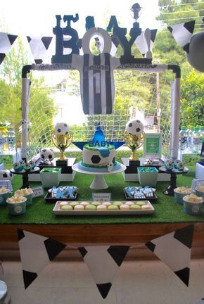 Awesome soccer baby shower party! See more party planning ideas at CatchMyParty.com!