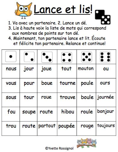 "Jeux de Mots (Le son ""ou"") Ateliers, No Prep, French Phonics, French immersion)"