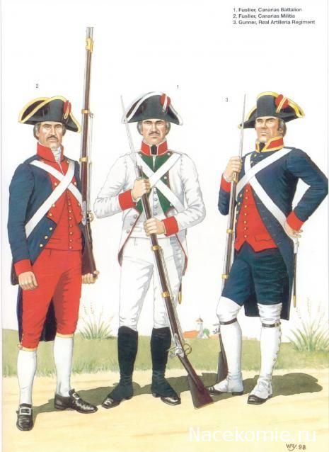 Spanish Army of the Napoleonic Wars (1) 1793-1808_ 1-Fusilier Canarias Bataillon 2-Fusilier Canarias Milicia 3-Gunner, Real artileria Regiment