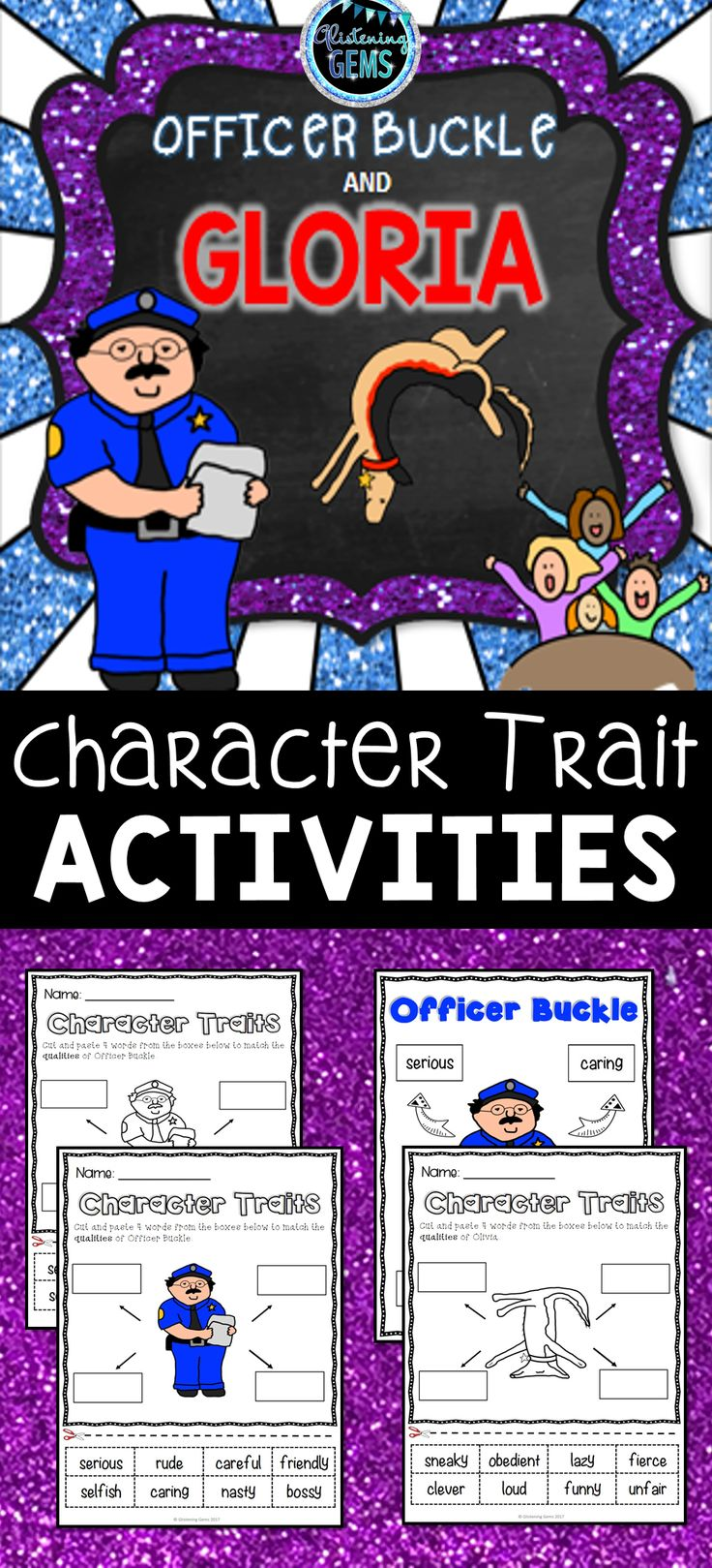 Officer Buckle and Gloria - Character traits, physical traits and feelings worksheets.