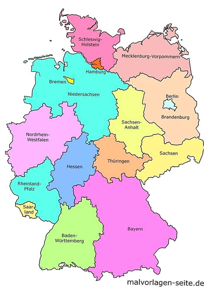 landkarte deutschland ohne beschriftung Landkarte Bundesrepublik Deutschland mit Bundeslndern. Mit und