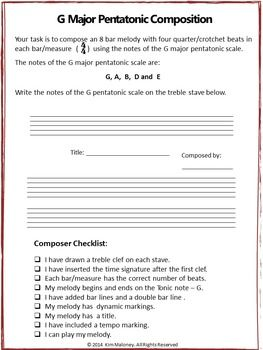 FREE download!!!!   Music: G Major Pentatonic Composition Task.  Suitable for grades 5-8, depending on the students' background knowledge.