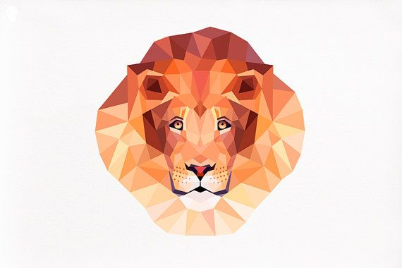 Lion Geometric Print Animal Art Original By Tinykiwiprints