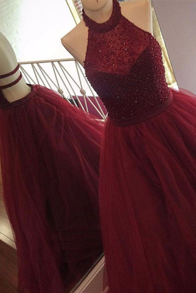 Burgundy organza halter backless sequins A-line long prom dresses,graduation dresses
