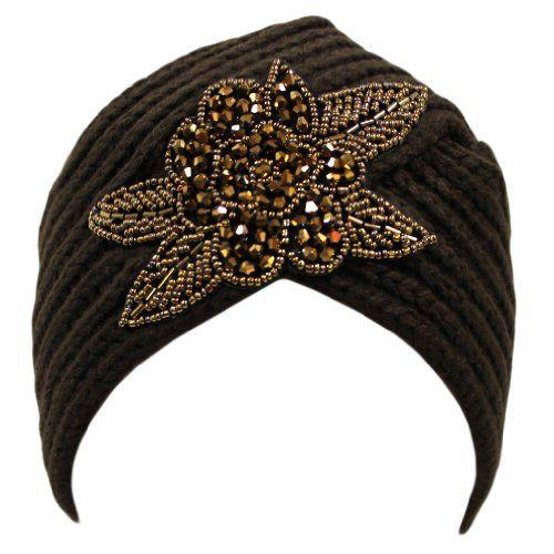 Ladies Winter Warm Sparkle Floral Turban Soft Knit Beanie Skull Hat Cap Lt Beige at Amazon Women's Clothing store: Turbans For Women