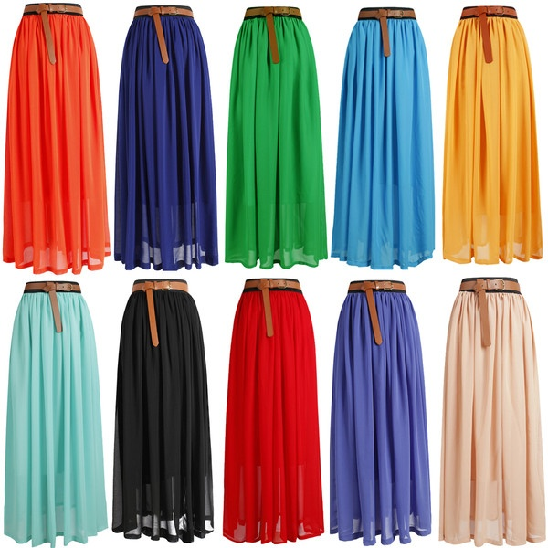 HOT!SALE! Women Lady Girl Chiffon pleated Retro Long Maxi Skirt Dress ❤ liked on Polyvore