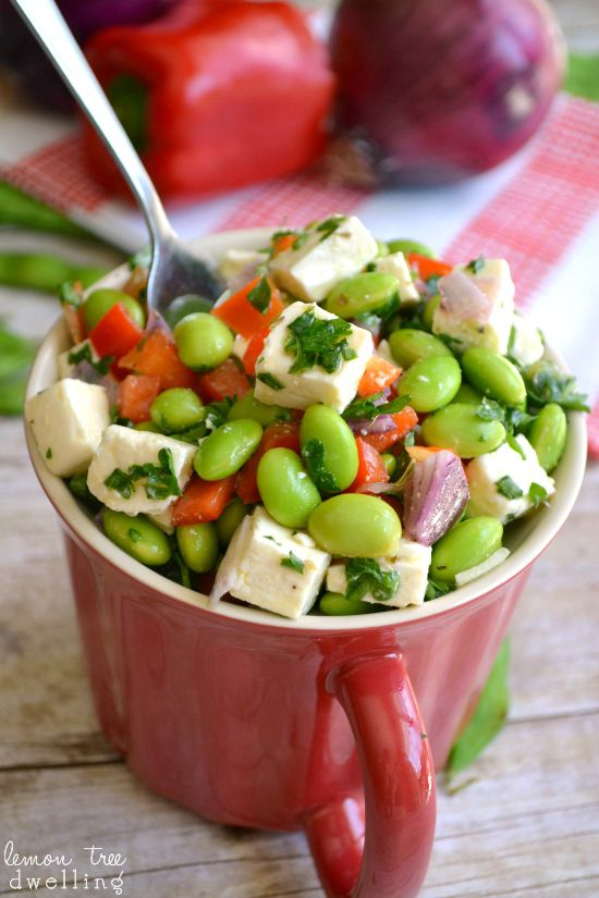 Edamame Feta Salad with red peppers, onions, and a light lemon-herb dressing. #MyPicknSave #shop