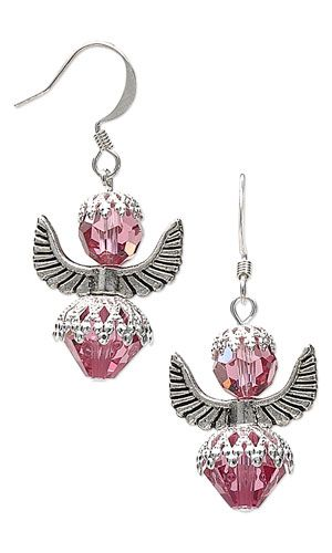 """Earrings with Swarovski Crystal Beads, Antiqued Silver-Finished """"Pewter"""" Beads and Silver-Plated Brass Bead Caps - Fire Mountain Gems and Beads"""