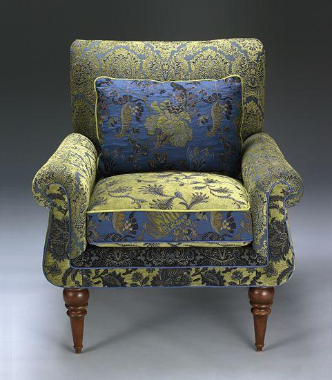 love the upholstery fabric...Shelburne Cornflower Chair: Mary Lynn O'Shea: Upholstered Chair & Pillow - Artful Home