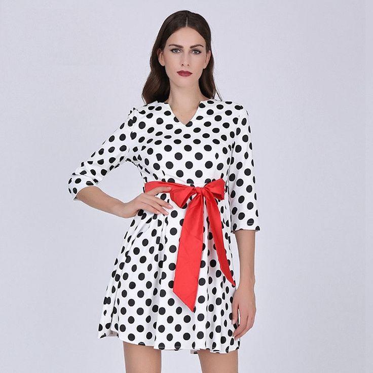 Women's Dress Mini Polka Dot with Red Sashes