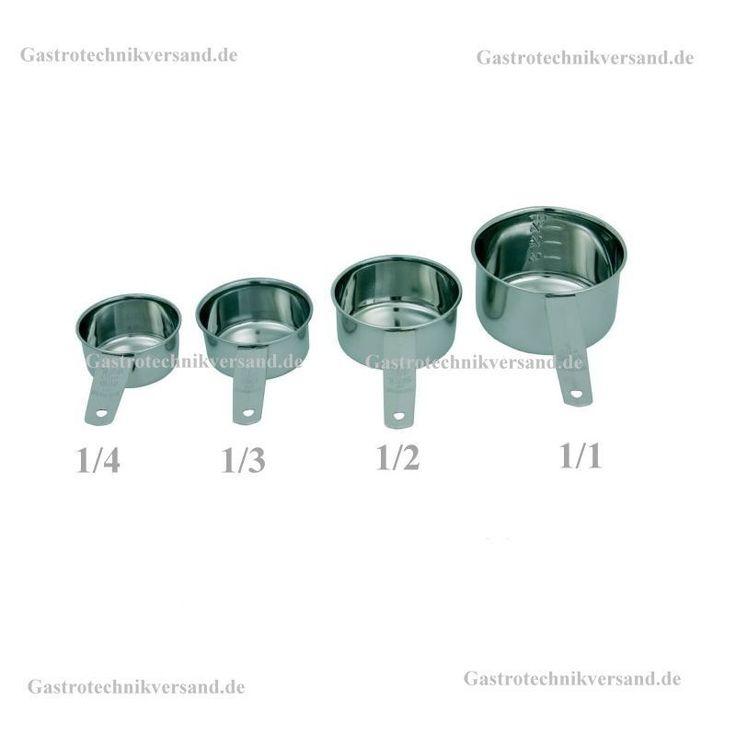 Messbecher Tassenmaß Cup maß Messlöffel 1/4, 1/3, 1/2, 1/1 Tasse + ml Edelstahl