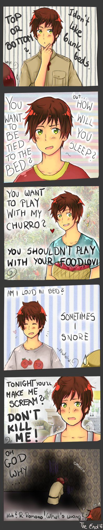oh Spain.........so oblivious...... LOL XD Romano's in the corner like what did I do to deserve this