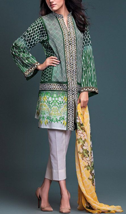 Buy Green/White Embroidered Cotton Lawn Dress by Rungrez Lawn Collection 2015.