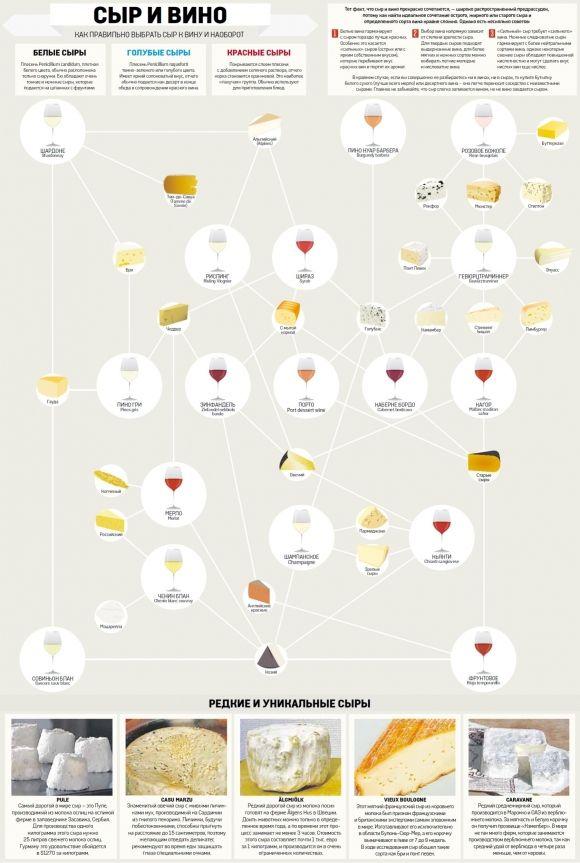 Как правильно выбрать сыр к вину. Инфографика. Фото 1