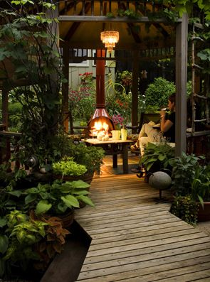 A woodland gazebo - notice the wood burning fire at the end of it - very prettyGardens Decks, Cozy Gardens, Backyards Retreat, Wood Burning, Outdoor Fireplaces, Patios, Outdoor Area, Outdoor Spaces, Fire Pit