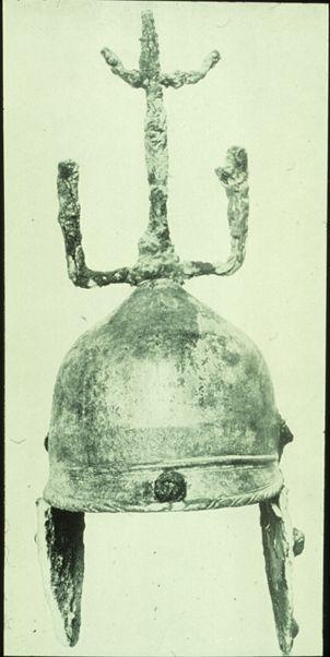 """Helmet  """"Material: bronze Period: La Tène Find spot: Santa PaolinCEi Filottrano Country: Italy Date: 4th c. BCE Collection: Ancona, Museo Archeologico Nazionale"""""""