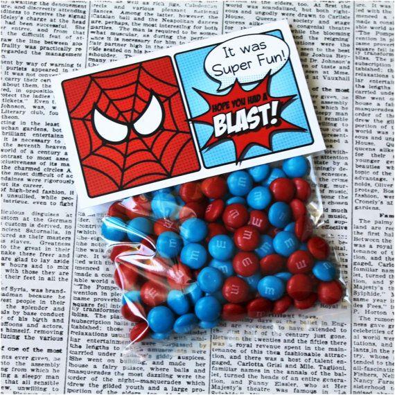 "Superhero Collection. SPIDERMAN Favor Tag (5"" wide fold over). DIGITAL DOWNLOAD. DiY Printable Design. Pinkadot Shop on Etsy, $5.00"