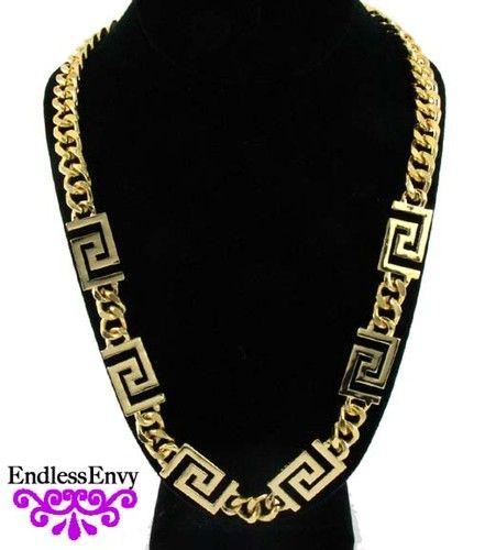 Rihanna Fashion Gold Plated Greek Key Cuban Curb Link Chain Necklace Celebrity #Rihanna #Jewelry