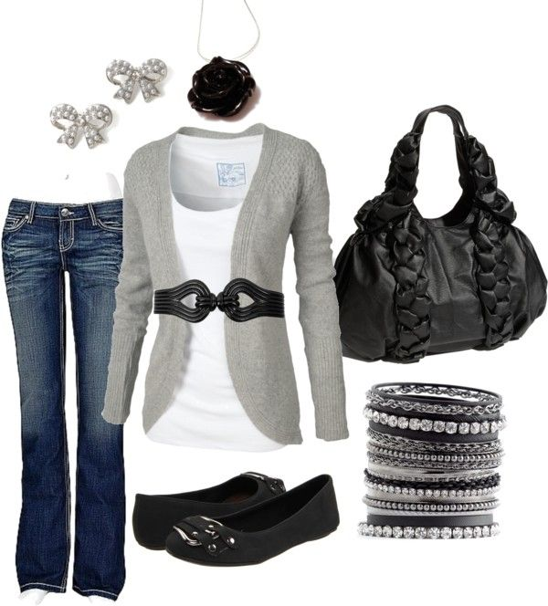 Casual Outfit: Sweaters, Black Rose, Casual Friday, Cute Outfits, Bows Earrings, Black White, Grey, Casual Outfits, Belts