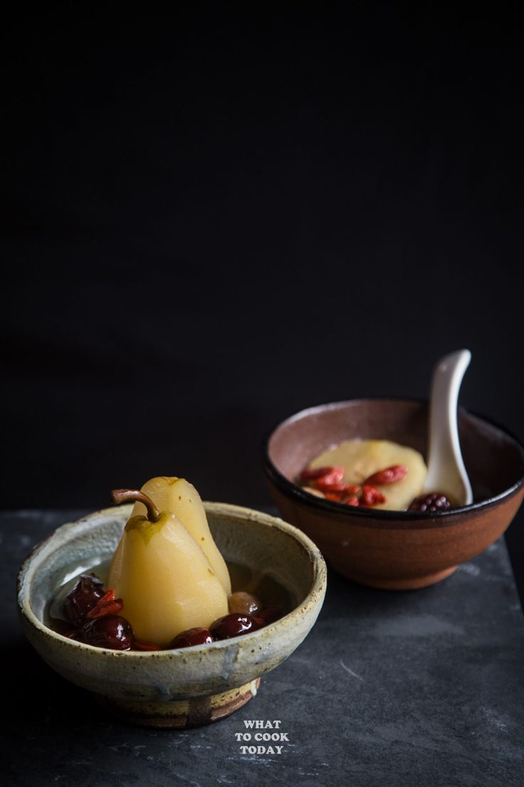 Longan, Red Dates, Goji Berries Poached Pears   What To Cook Today. Easy Asian dessert or snacks