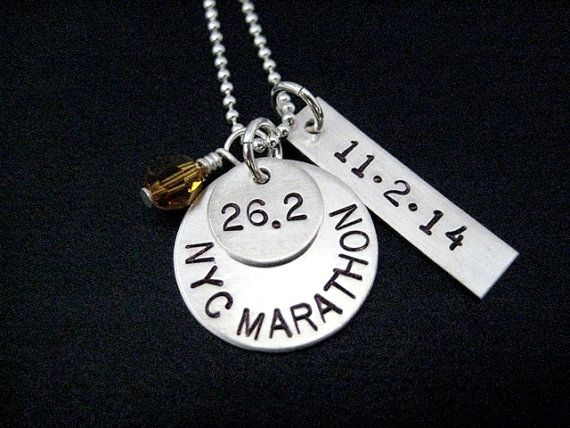RUNNER RACE Necklace with Race Month Crystal AND Date Pendant 16 inch Sterling Silver Chain - Celebrate Your Race - Choose Distance and Date