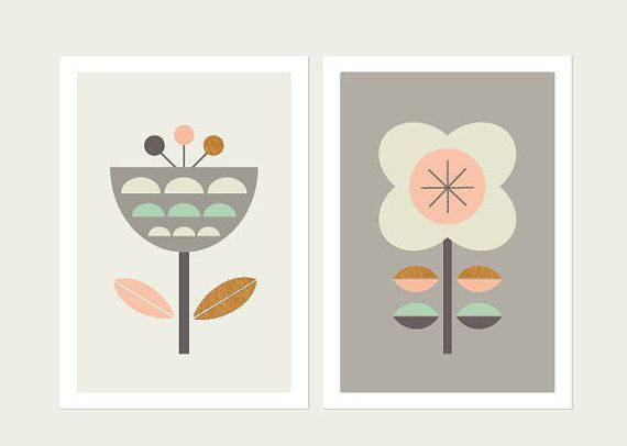 Scandinavian Flowers (Grey,Pink and Mint),Series of Two. Kids room art,Scandinavian,Girls room art,Modern kids art,Nursery…