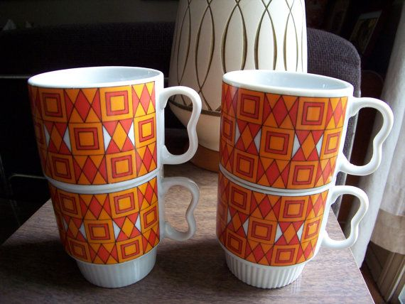 Mod Geometric Mugs in Orange and White-Vintage Cups Set of 4 on Etsy, $21.86 AUD
