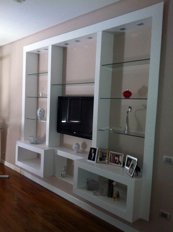 Parete attrezzata cartongesso cerca con google arredamento pinterest drywall home decor - Parete mobile in cartongesso ...