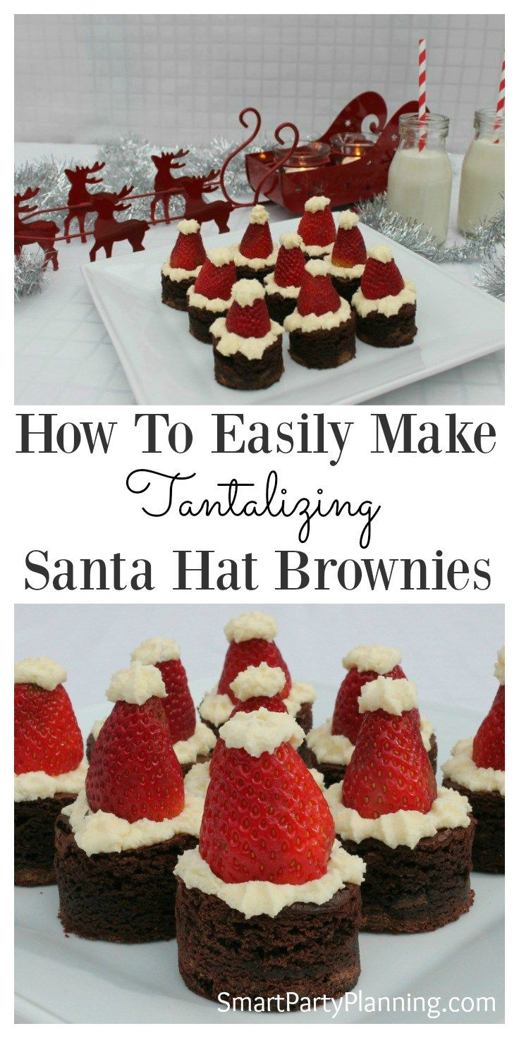Santa hat brownies are the perfect Christmas treat. With the combination of chocolate, strawberries and cream they are a delight to the taste buds. The whole family will love this recipe and can be enjoyed throughout the holidays. They are one of the easiest Christmas desserts to make. #Christmas #Brownies #Santahats