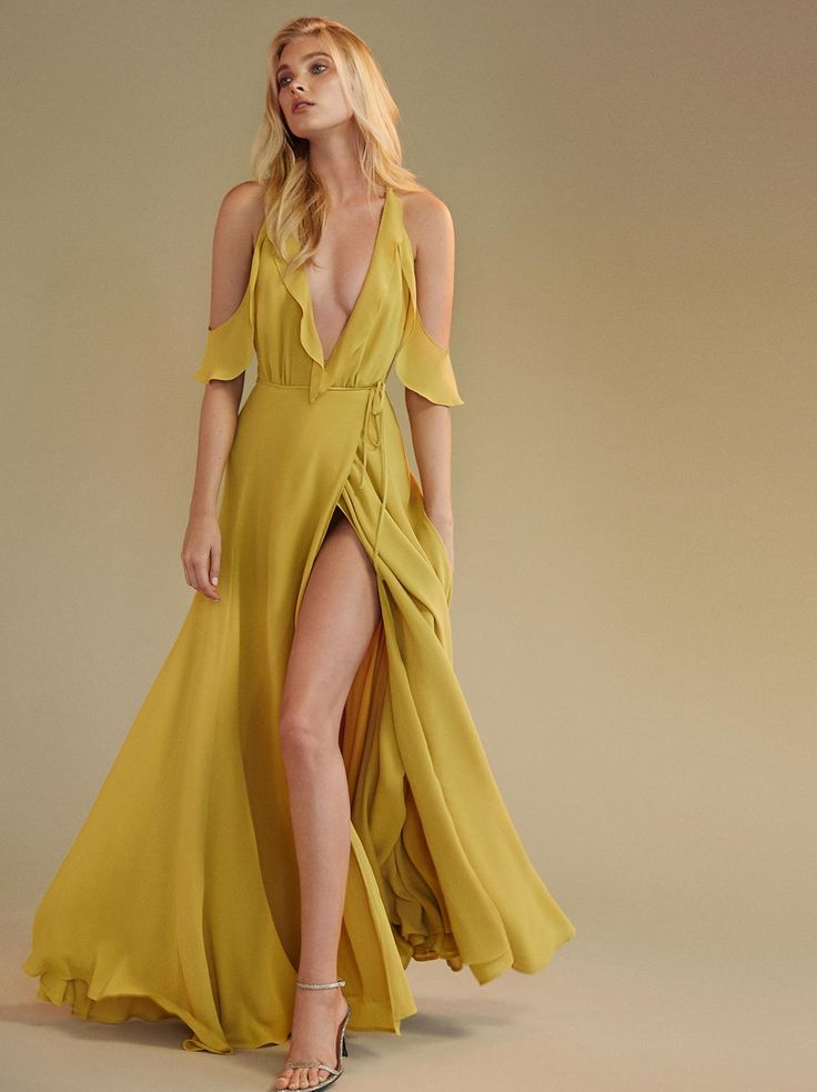 H m long gold dress in beach