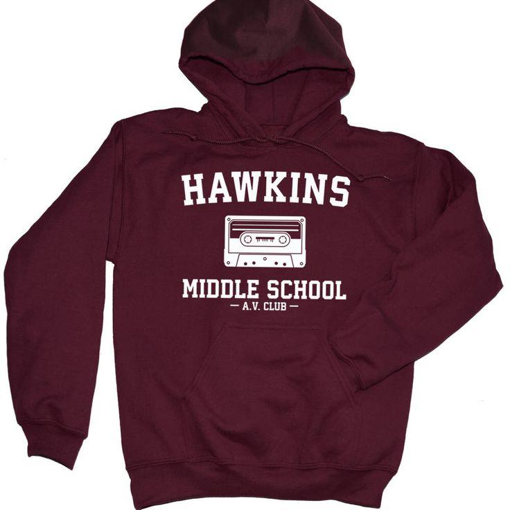 Hawkins Middle School AV Club Hoodie. Stranger Things Sweater. Unisex Stranger Things Merch. S-3XL. by LAShopTees on Etsy https://www.etsy.com/listing/560435452/hawkins-middle-school-av-club-hoodie
