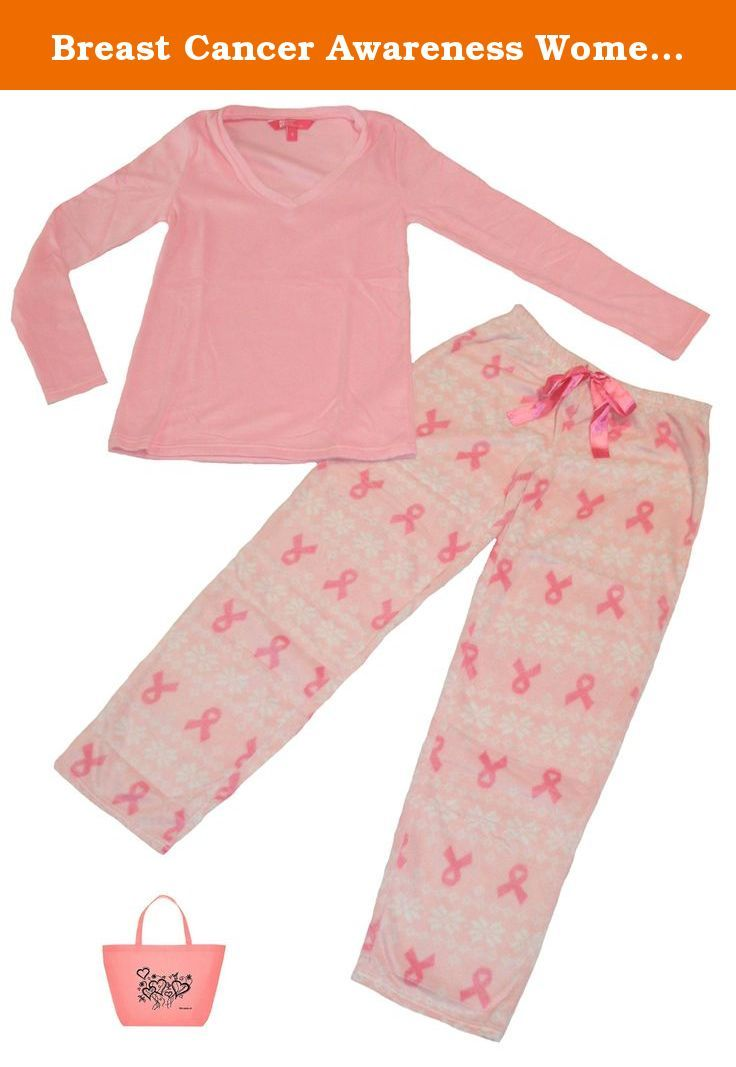 Breast Cancer Awareness Womens' Mink Fleece Pajamas & Tote Gift Set (Large, Pink). Breast Cancer Awareness Womens' Mink Fleece Pajamas & Tote Gift Set.