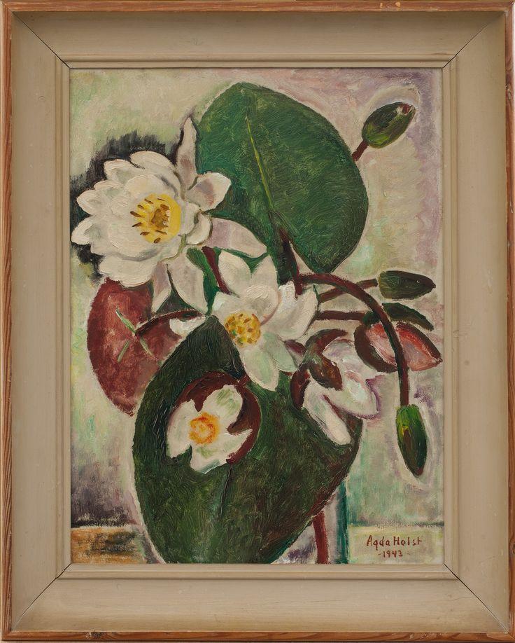 Agda Holst - Blommor och Blad (Näckrosor) 1943