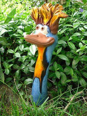 Heckenvogel M aus Keramik helles Blau, Stehhaare, frostsicher, Unikat, (K)