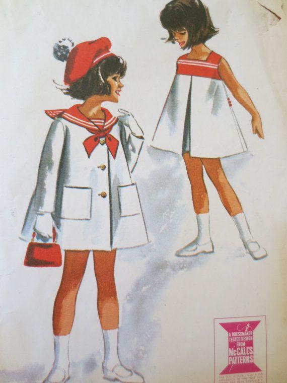 Vintage McCall's 7142 1960s Child Sailor Coat Pattern