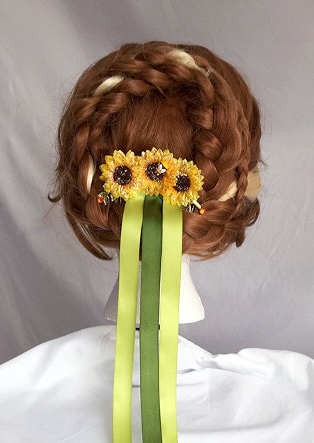 Frozen Fever Anna Inspired Sunflower Ribbon Comb - Great for Cosplays, Disney Bounding or Parties! by TheTinkery on Etsy https://www.etsy.com/listing/222627218/frozen-fever-anna-inspired-sunflower