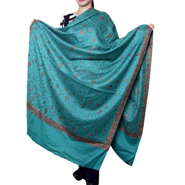 Kashmir Villa Superior Sea Green Color Jamawar Sozni Work Embroidered Shawl Enriched with Heavy Jaal Pattern