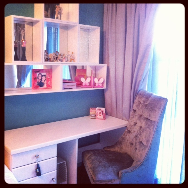 Desk & Storage boxes revamped by us and desk chair designed by us! :)