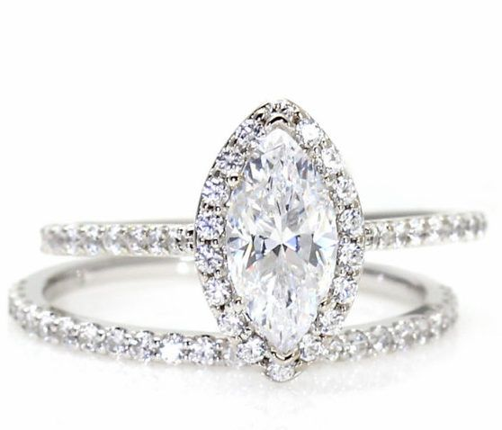 Unique Design Marquise Wedding Ring Sets With Moissanite Engagement Set Rings Diamond Halo