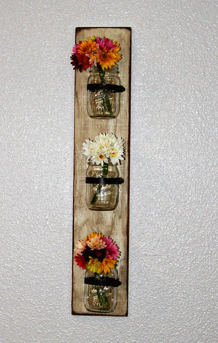 Wood Mason Jar Wall Sconce. $42.00, via Etsy. Use in the bathroom for flowers, candles, makeup brushes