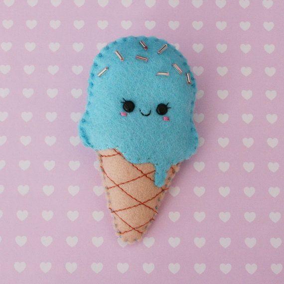 Bubblegum Ice Cream Felt Brooch Cute Brooch by hannahdoodle, £8.00