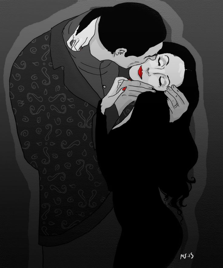 """I would die for her. I would kill for her. Either way, what bliss. Morticia and Gomez in my take on Gustav Klimts """"the kiss"""""""