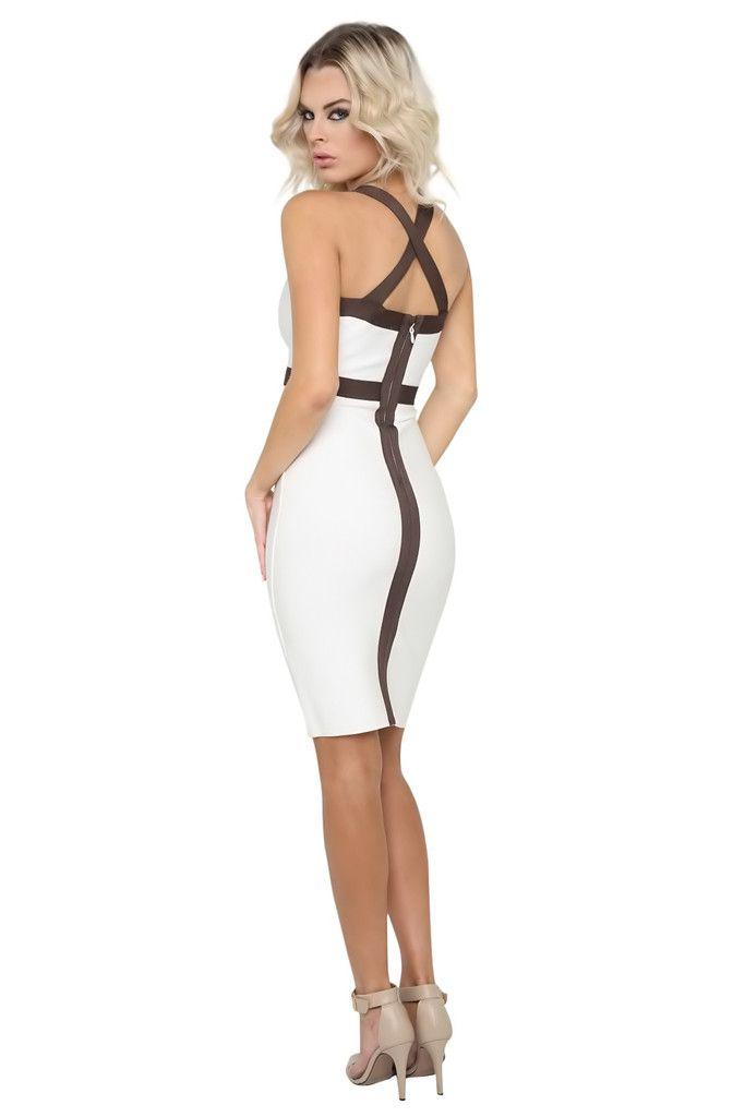 Katie White Midi Low V Neck Cross Back Bandage Dress